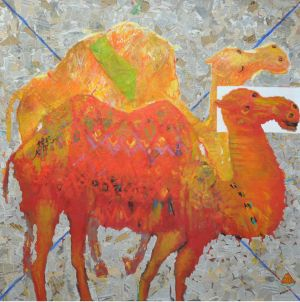 Живопись, Акрил - «About the camel», canvas, oil, newspapers 150х150 cm, 2016 year